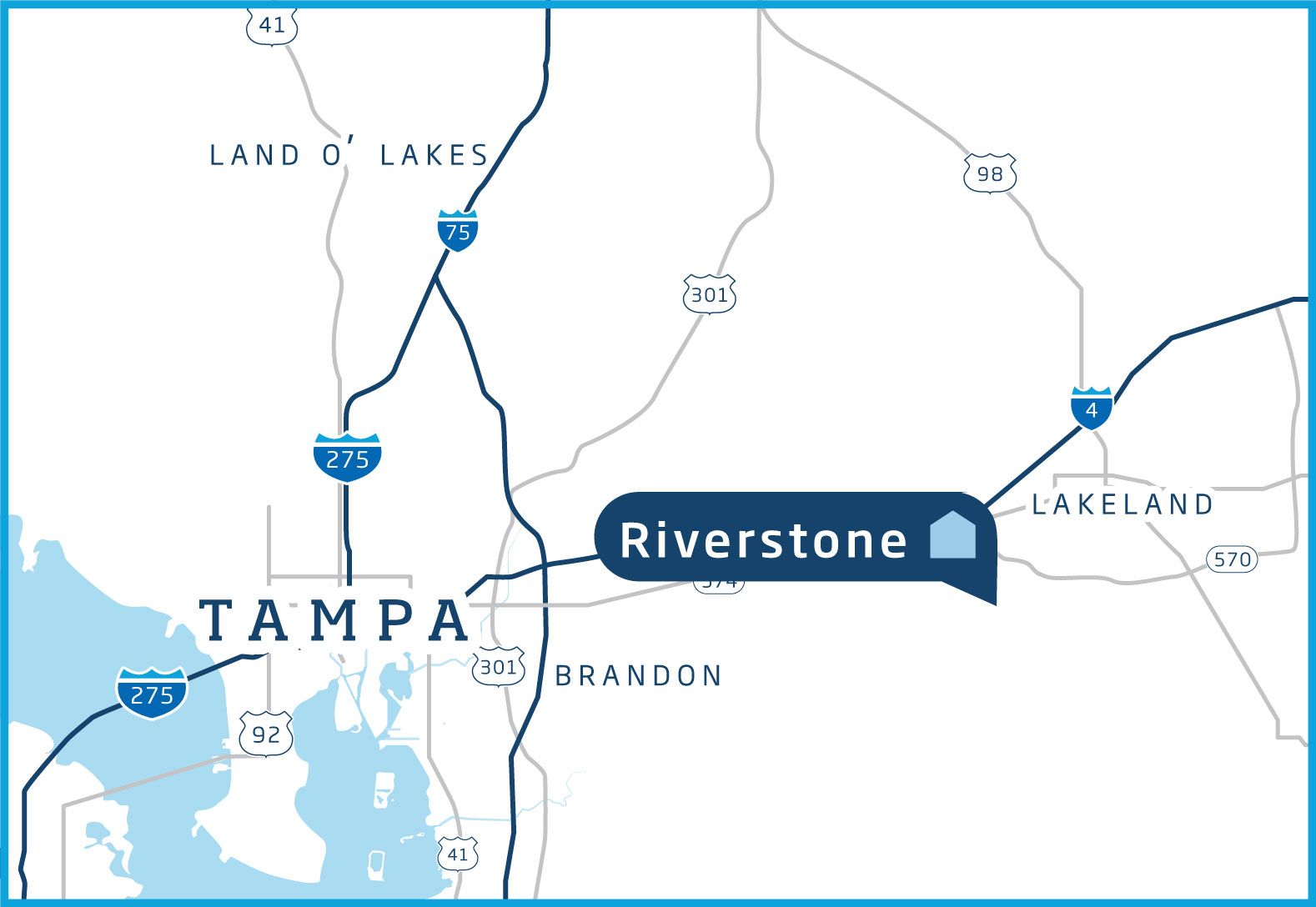 Map of the Tampa Bay area with Riverstone highlighted